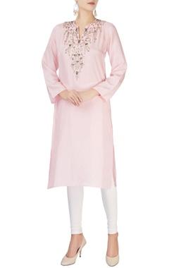 Baby pink embellished kurta