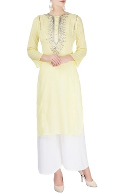 Monisha Jaising Light yellow embellished kurta
