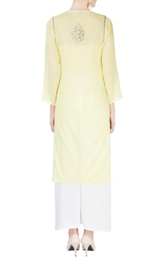 Light yellow embellished kurta