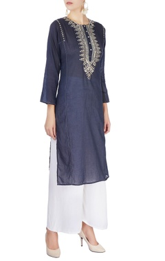 Monisha Jaising Navy blue mirror work kurta