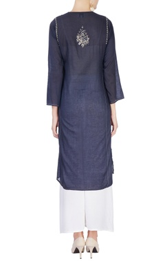 Navy blue mirror work kurta