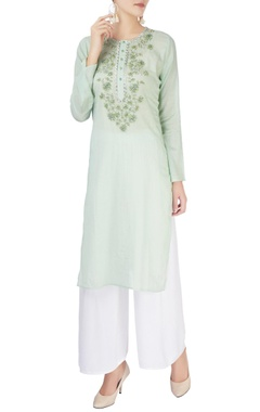 Monisha Jaising Light green embellished kurta