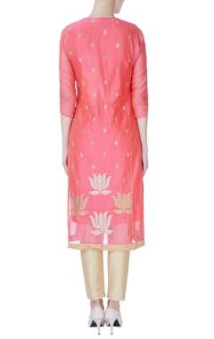 coral pink lotus print kurta