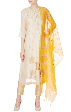 beige kurta with gold embroidery