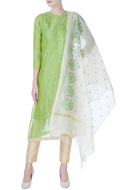 green kurta with gold embroidery