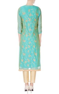 Blue kurta with leaf motif embroidery