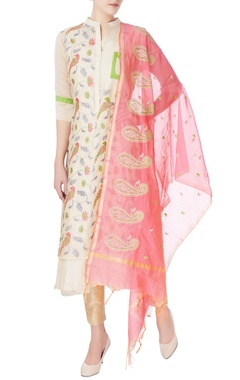 beige kurta with embroidery & dupatta