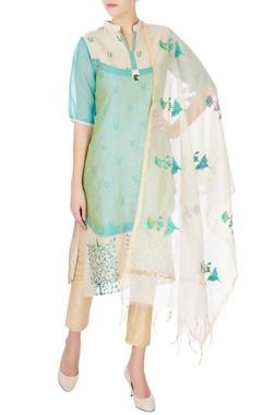 blue & green bird motif kurta & dupatta