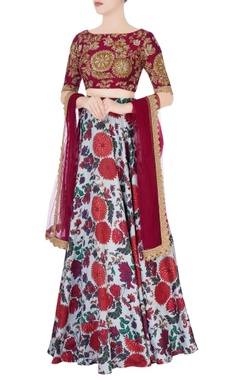 Pastel blue floral lehenga & sequin embroidered blouse