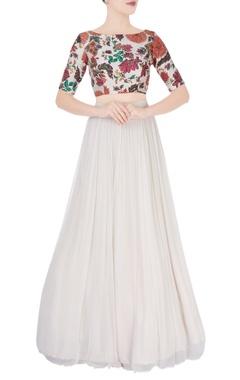 White flared lehenga & multicolored blouse