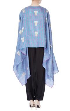 Multicolored check brocade cape