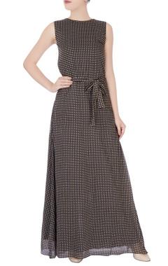 Brown check print maxi dress