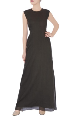Grey fitted style maxi dress