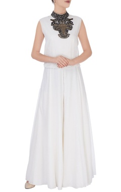 White jumpsuit with embellishments
