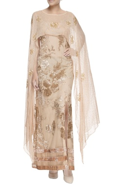 Beige gown with attached stole