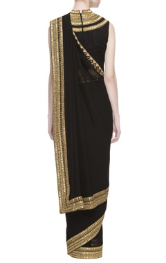 Black georgette zardozi embroidered sari