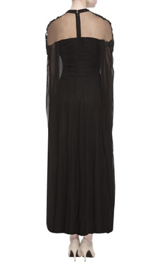 Black sequin embroidered gown