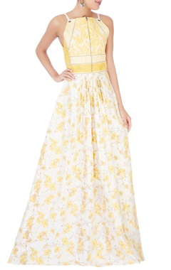 Yellow & white quilted dress