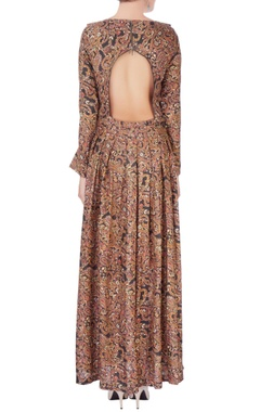 Brown digital printed maxi dress