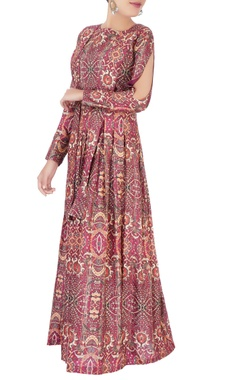 Maroon digital printed maxi dress