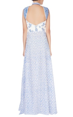 White & blue quilted maxi dress