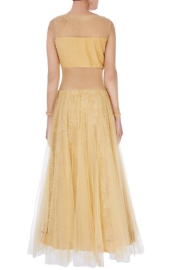 Beige embroidered flared gown
