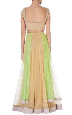 Beige & green sequin embellished lehenga