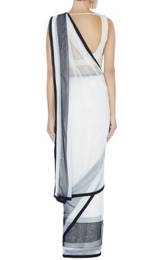 white & black tulle sari & blouse