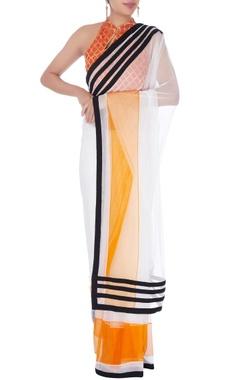 White color-block sari & halter blouse