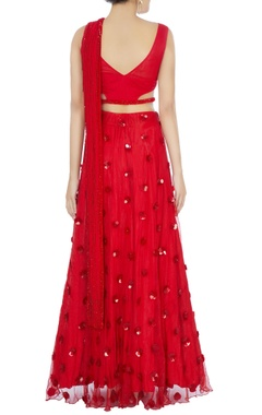 Red sari gown with attached drape