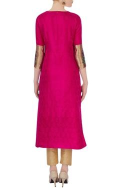 Pink brocade embroidered kurta
