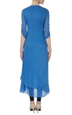 Blue kurta with cutwork layer