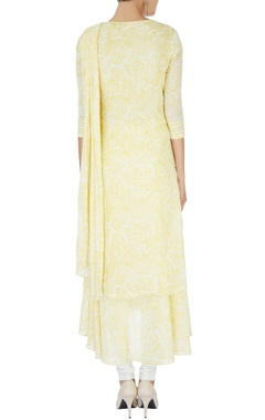 Yellow printed draped kurta
