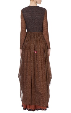 Brown polka dot anarkali