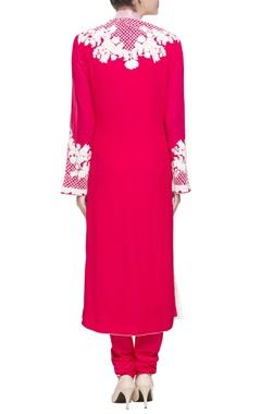 Red pink hued embroidered straight kurta set