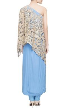 Blue one shoulder kurta set