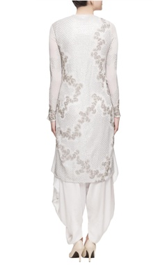 White kurta & dhoti pants in silver embellishments