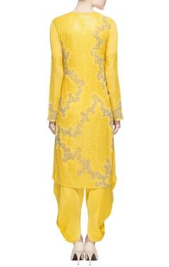 Yellow embellished kurta & dhoti pants