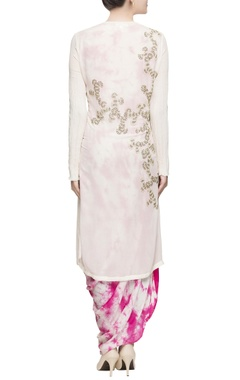 White embroidered fitted kurta set