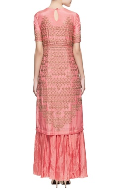 Coral pink metal adorned kurta set