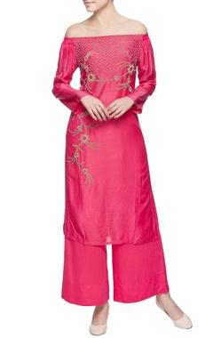 Pink off shoulder kurta & pants