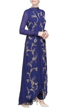 Blue asymmetric style kurta