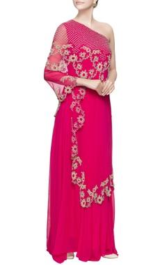 Pink silk cape style jumpsuit