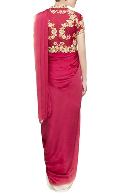 Red sari gown with floral blouse