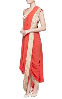 Orange draped sari & floral blouse