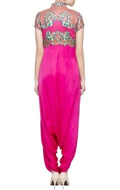 Hot pink draped jumpsuit