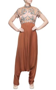 Burnt orange draped jumpsuit