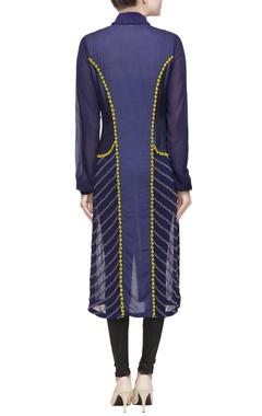 Blue long kurta with ribbed collar