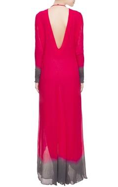 Red asymmetric style kurta