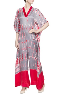 Red & grey dyed jumpsuit